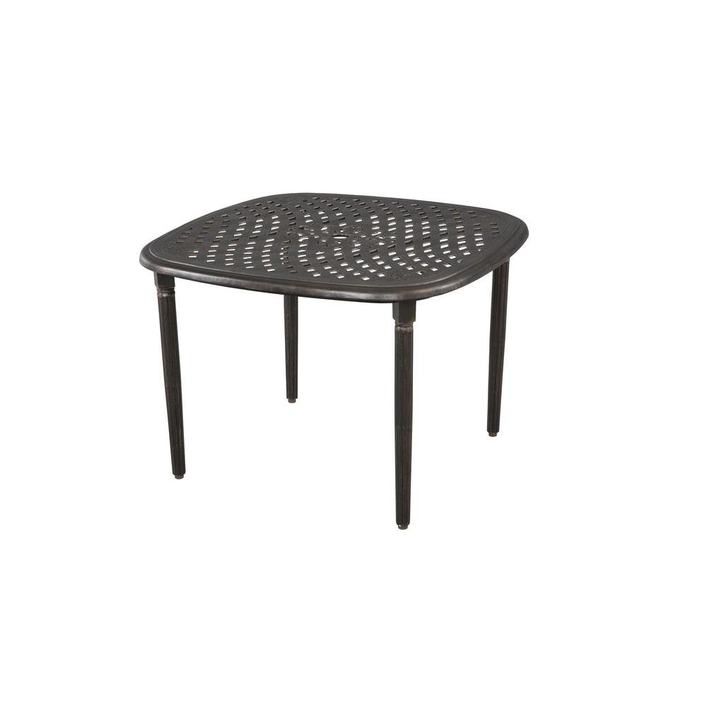 Hampton Bay Edington Open Cast 40 In Square Patio Dining Table 141 005w 40t C The Home Depot