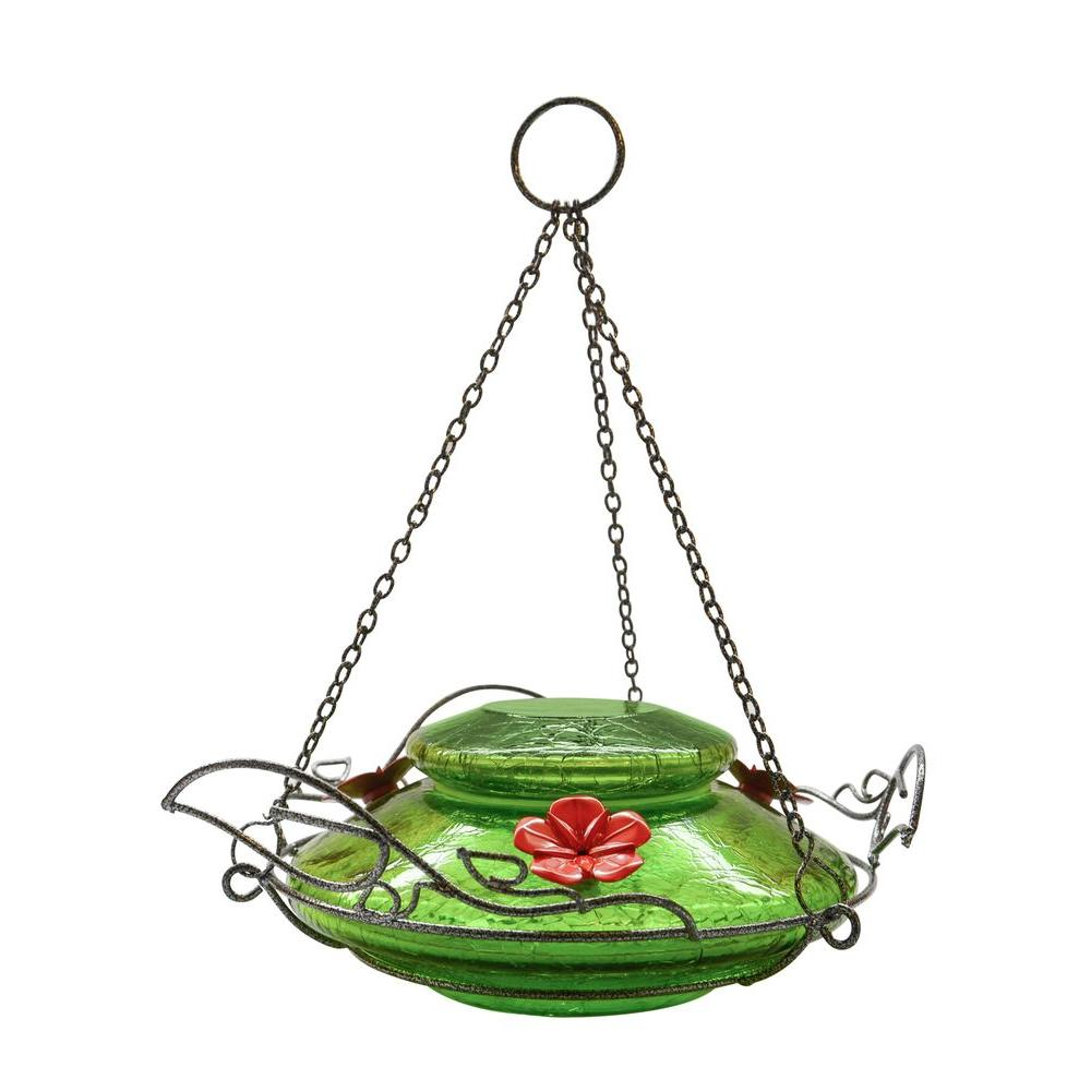 Green Crackle Modern Top Fill Hummingbird Feeder