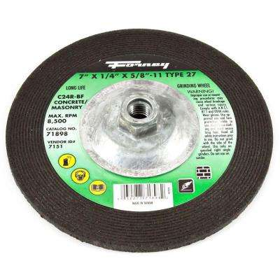 7 in. x 1/4 in. x 5/8 in.-11 Threaded Masonry Type 27 C24R-BF Grinding Wheel