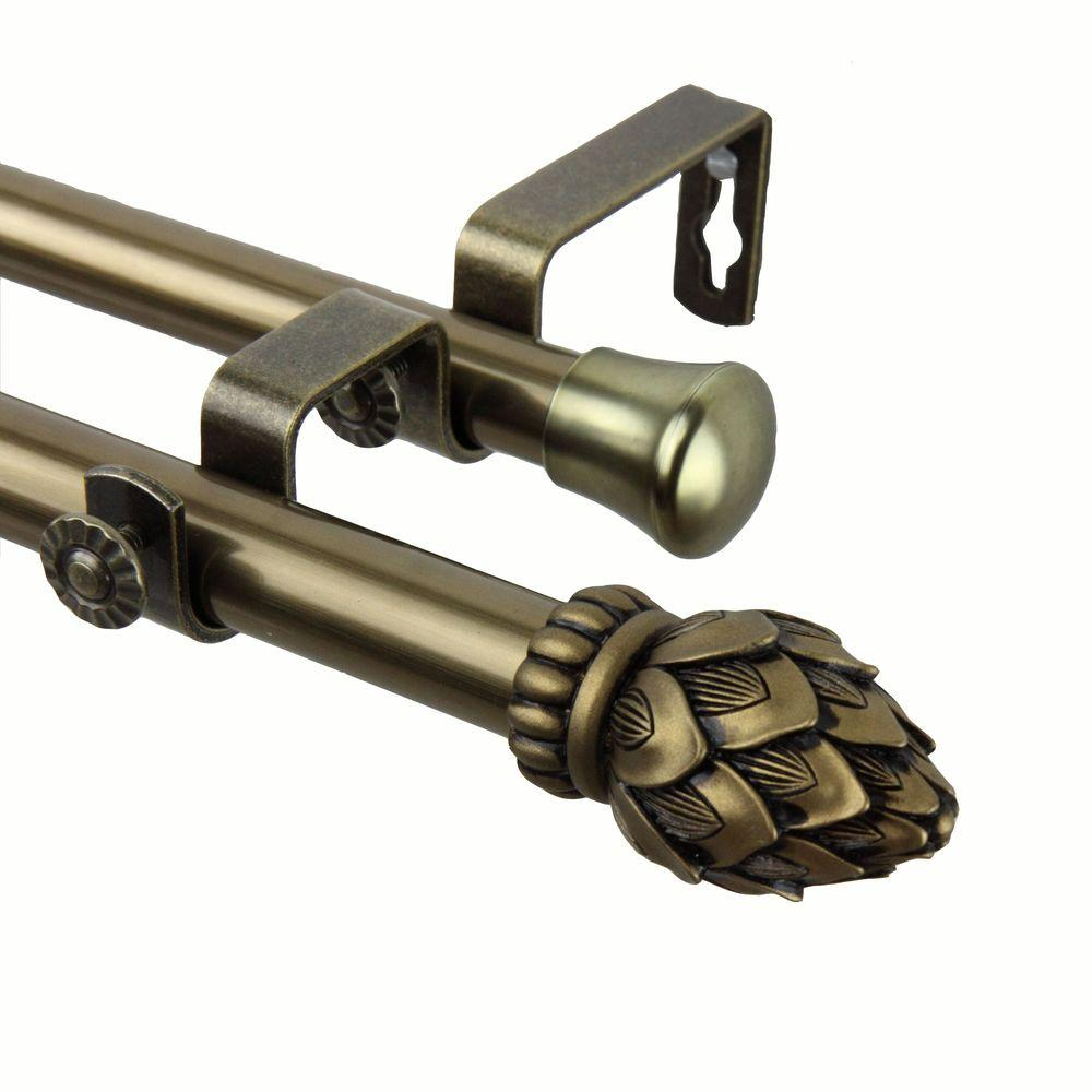Rod Desyne 48 in. - 84 in. Telescoping Double Curtain Rod Kit in Antique Brass with Bud Finial