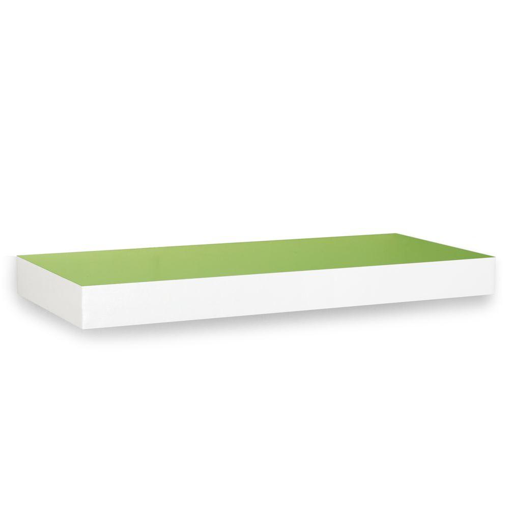Way Basics zBoard 23.6 in. x 2 in. Wall Shelf and Decorative Shelf in Green