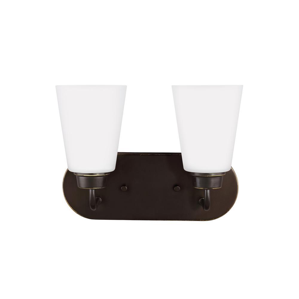 Kerrville 2-Light Heirloom Bronze Bath Light with LED Bulbs