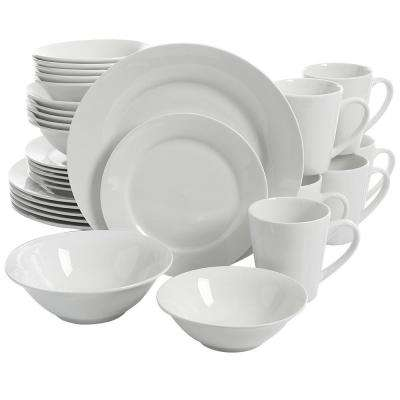 Noble Court 30-Piece Ceramic White Dinnerware Set