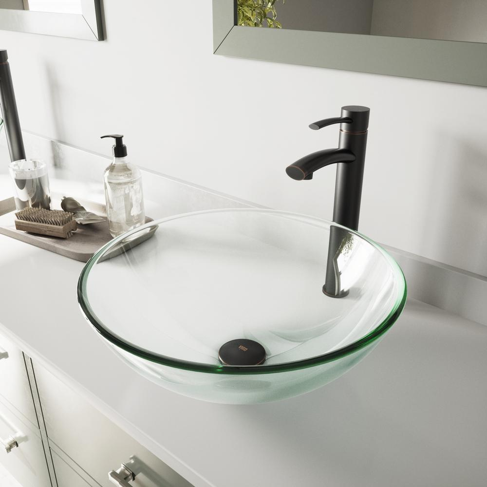 VIGO Vessel Bathroom Sink in Clear Crystalline and Milo Faucet Set in Antique Rubbed Bronze