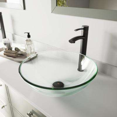 Vessel Bathroom Sink in Clear Crystalline and Milo Faucet Set in Antique Rubbed Bronze