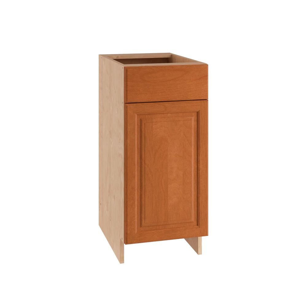Home Decorators Collection 15x34.5x24 in. Base Cabinet with 1 Wire Pullout Tray 1 Soft Close Door and 1 Soft Close Drawer in Cumin