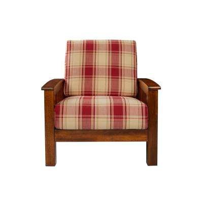 Omaha Mission Style Arm Chair with Exposed Wood Frame in Red Plaid