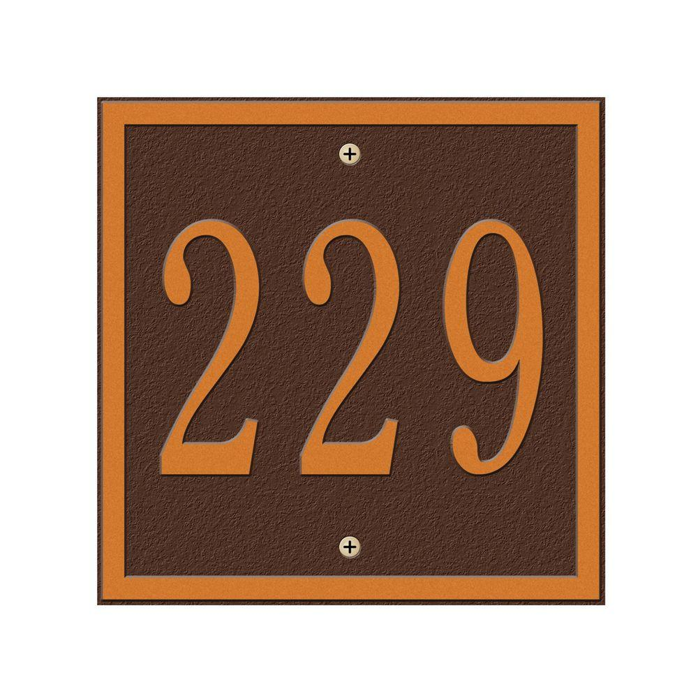 Whitehall Products Square Petite Wall 1-Line Address Plaque - Antique Copper