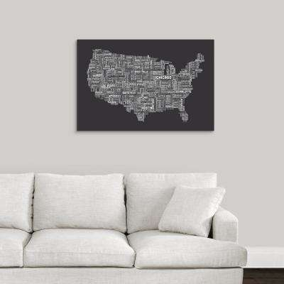 """United States Cities Text Map, Grey"" by  Michael Tompsett Canvas Wall Art"