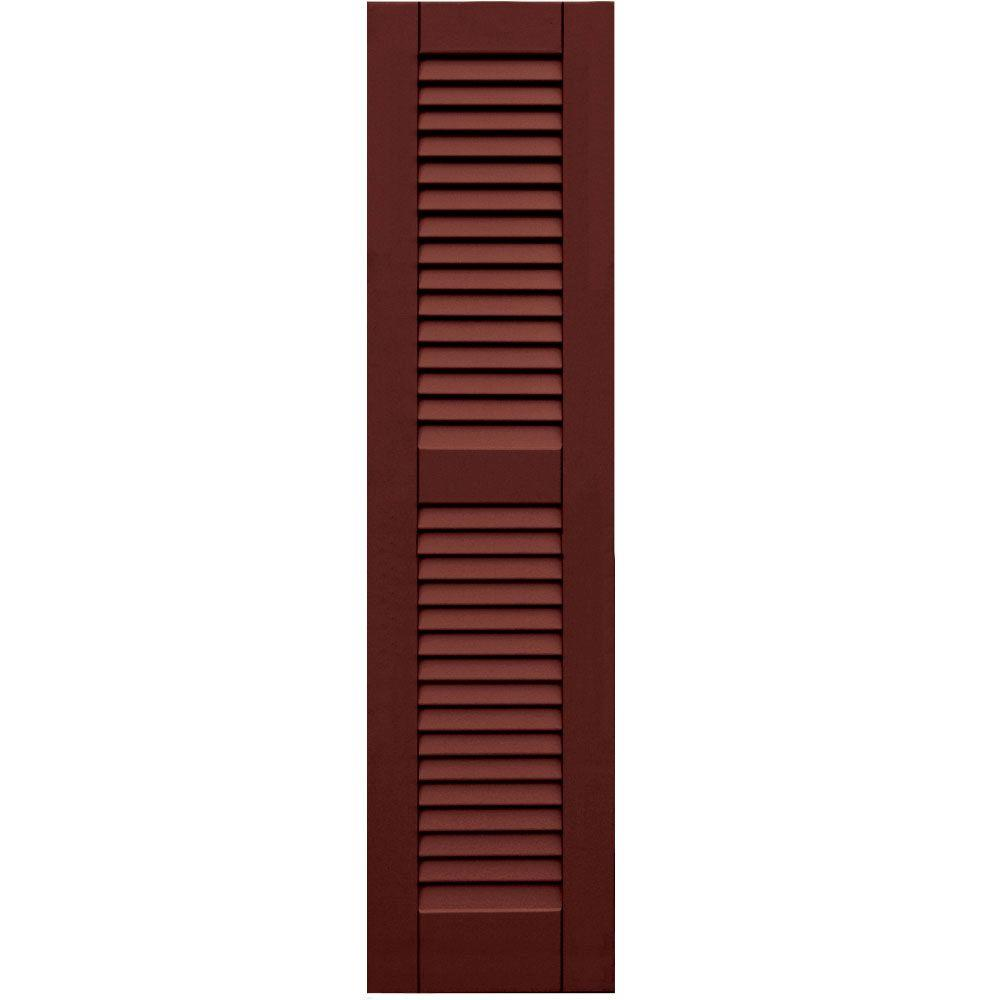 Winworks Wood Composite 12 in. x 48 in. Louvered Shutters Pair #650 Board and Batten Red