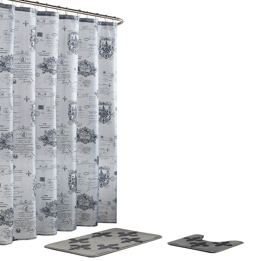 Fleur De Lis 18 in. x 30 in. Bath Rug and 72 in. x 72 in. Shower Curtain 15-Piece Set in Grey