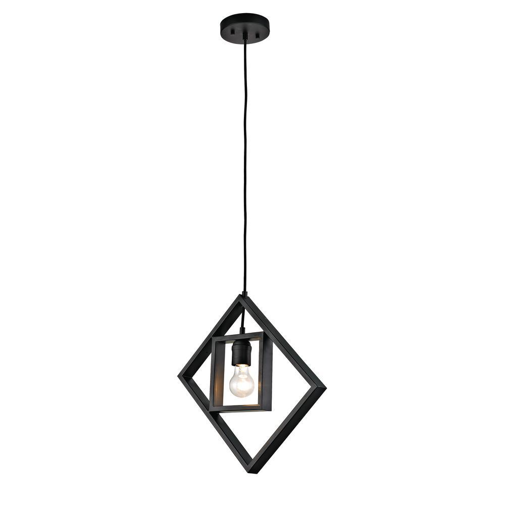 1-Light Black Open Socket Pendant with Geometric Frame