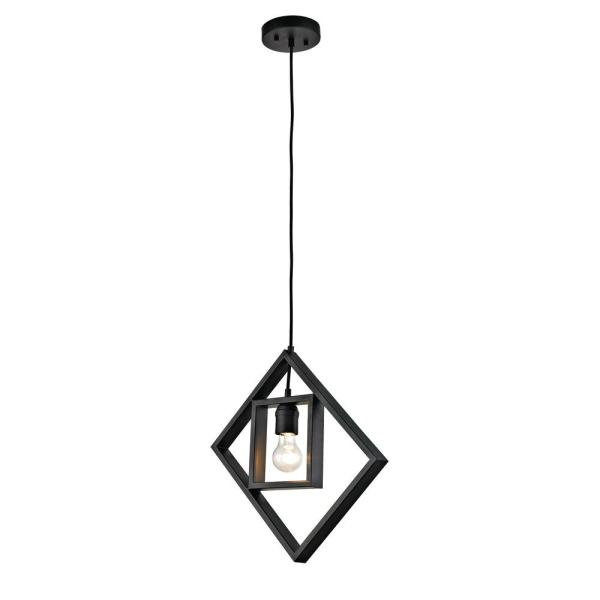 1-Light Black Open Socket Pendant with Geometric Frame