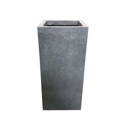 Small 8.7 in. x 8.7 in. x 19.9 in. Cement Lightweight Concrete Tall Planter