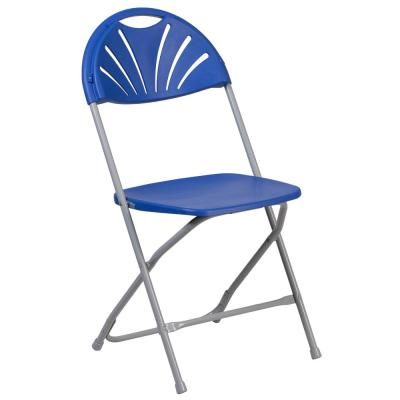 Blue Plastic Seat Metal Frame Outdoor Safe Folding Chair