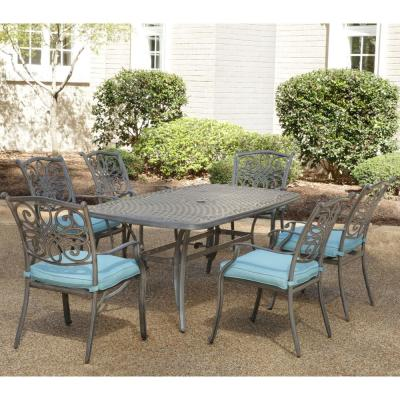 Traditions 7-Piece Aluminum Outdoor Dining Set with Blue Cushions 6-Chairs and Dining Table