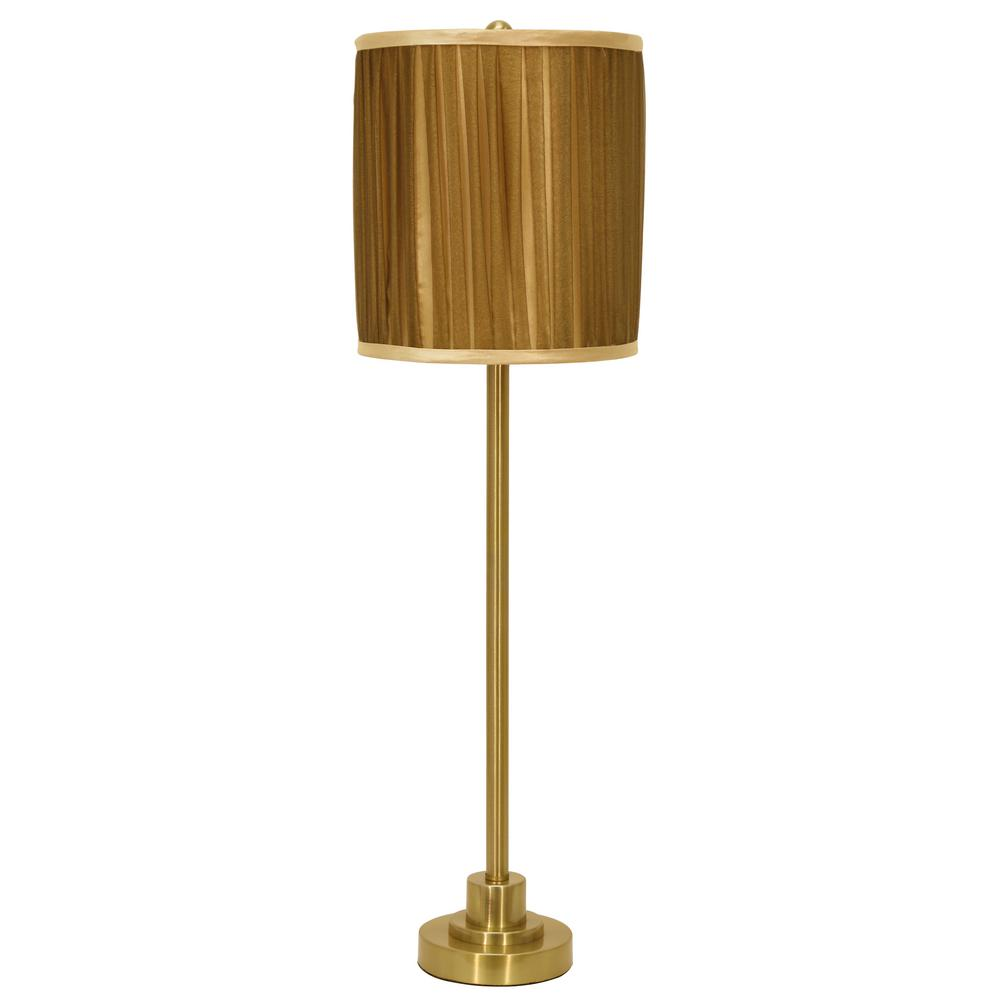 Decor Therapy Drew 30 In Polished Brass Table Lamp With Faux Silk
