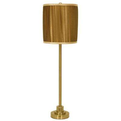 Drew 30 in. Polished Brass Table Lamp with Faux Silk Shade