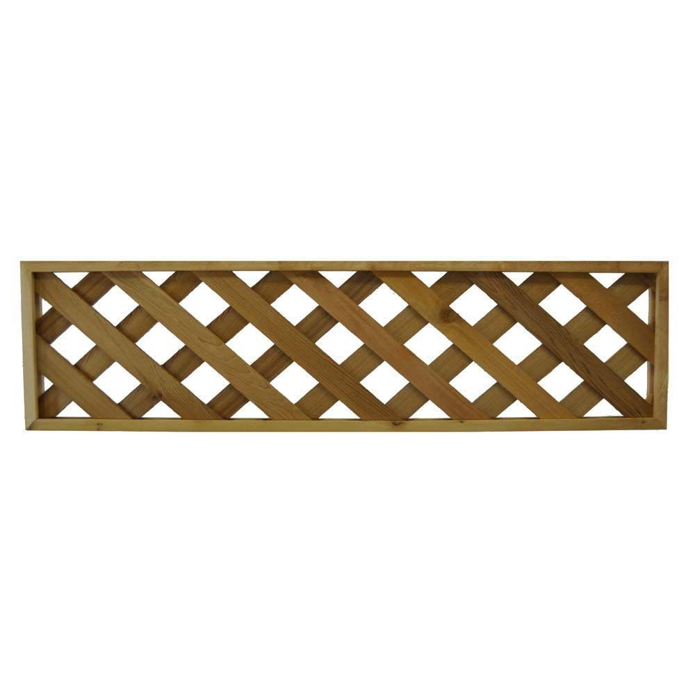 null 45.75 in. x 12 in. Western Red Cedar Diagonal Pattern Framed Lattice Fence Panel (2-Pack)