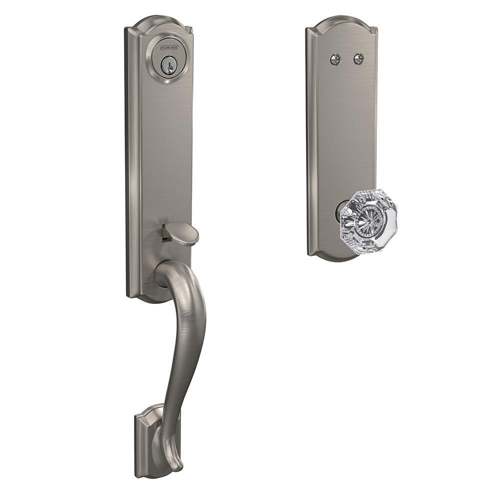 Custom Camelot Satin Nickel 3/4 Trim Dummy Door Handleset with Alexandria Glass Door Knob