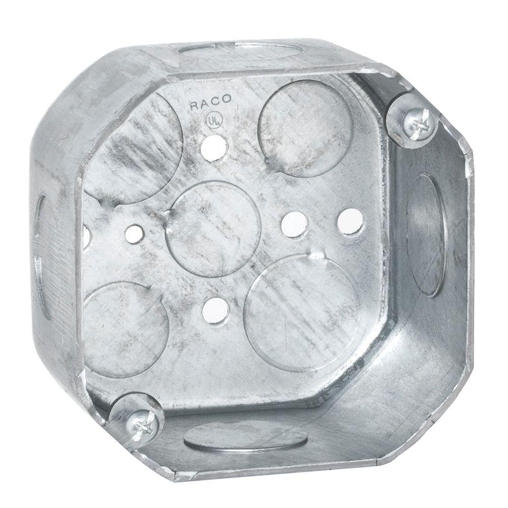 4 in. Octagon Box, 2-1/8 in. Deep with 1/2 & 3/4