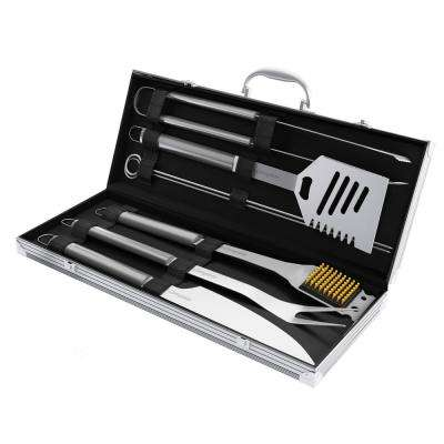 Stainless Steel BBQ Grill Tool Set with Storage Case