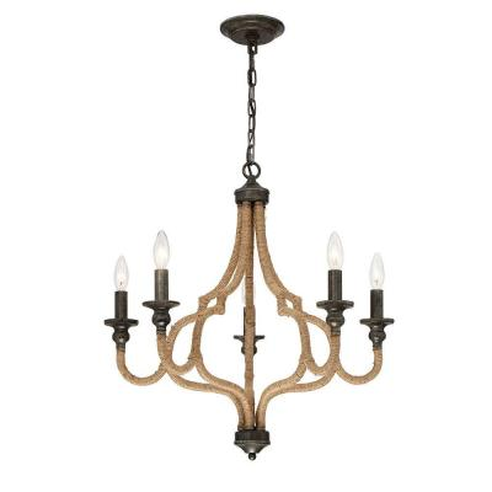 Corda Collection 5-Light Bronze Chandelier