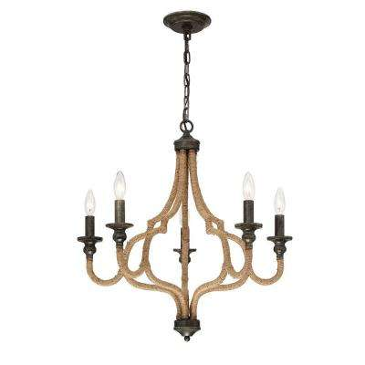 Corda Collection 5-Light Bronze Chandelier