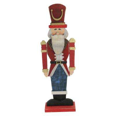 21 in. Red and Blue Painted Wooden Standing LED Decorative Nutcracker