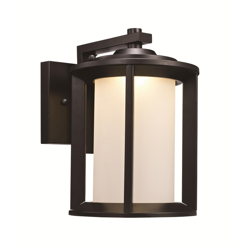Brava 10-Watt Black Outdoor Integrated LED Wall Mount Lantern