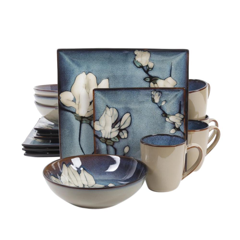 Bloomsbury 16-Piece Blue Flower Dinnerware Set