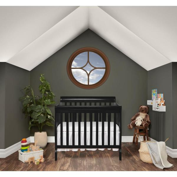 Dream On Me Aden Black 4-in-1 Convertible Mini Crib 628-K
