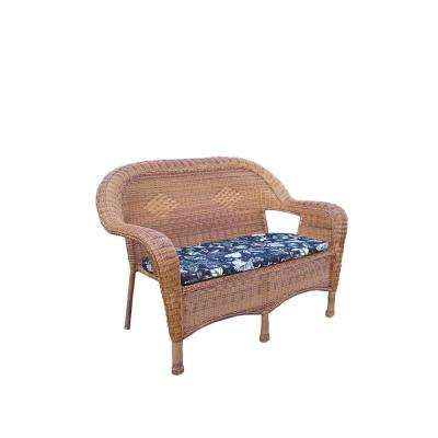 Wicker Outdoor Sofa with Black Floral Cushions