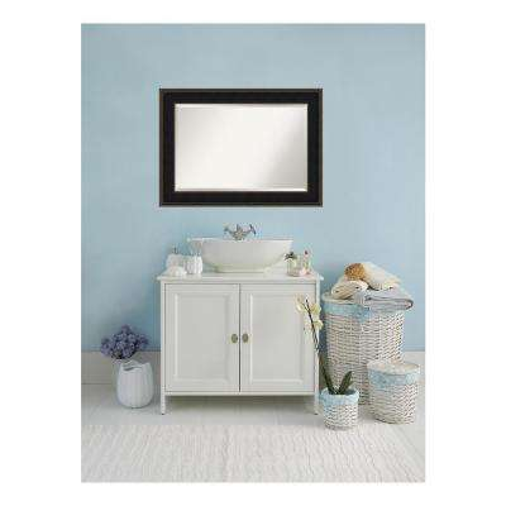 Mezzanine Espresso Bronze Wood 44 in. W x 32 in. H Single Contemporary Bathroom Vanity Mirror