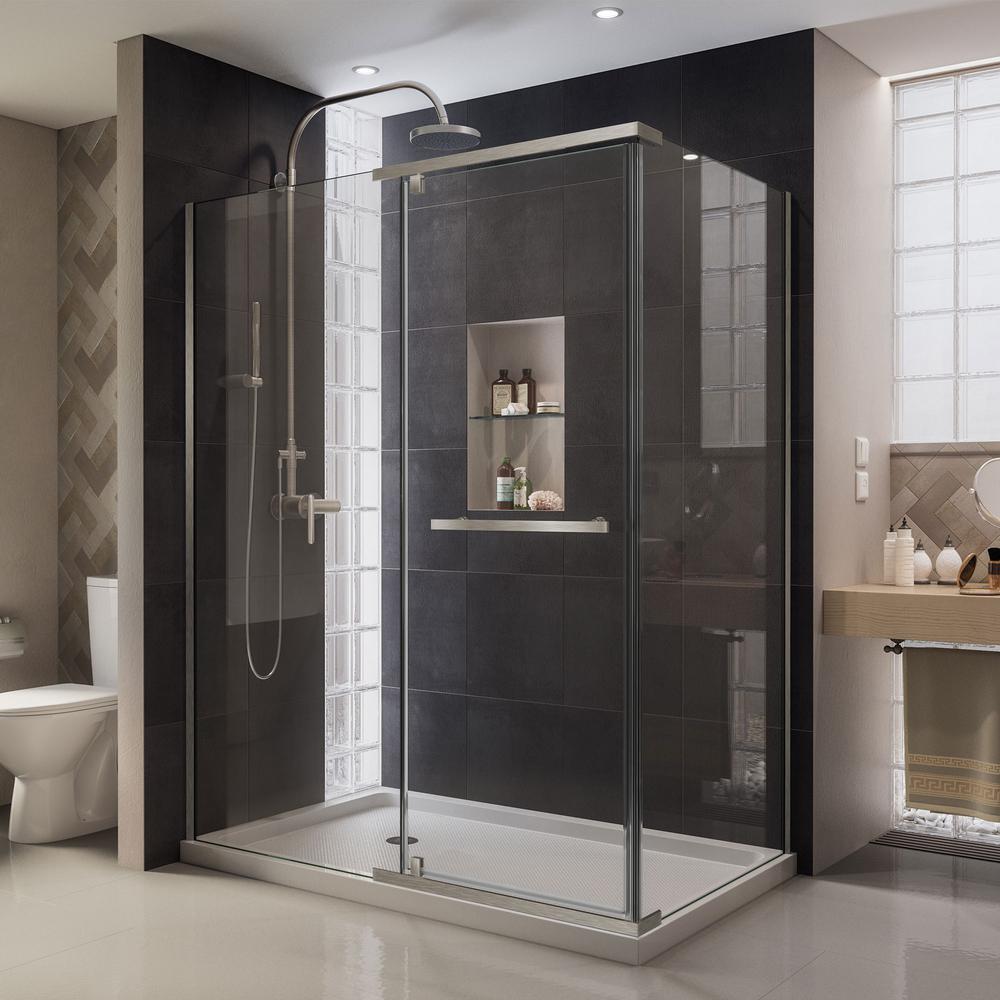 DreamLine Quatra 34-5/16 in. x 46-5/16 in. x 72 in. Semi-Frameless Pivot Corner Shower Enclosure in Brushed Nickel