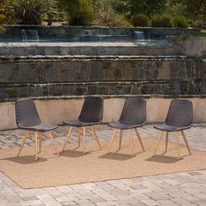 Gila Multi-Brown Armless Wicker Outdoor Dining Chair in Light Brown (4-Pack)