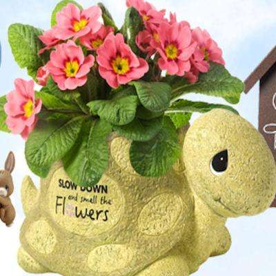 Turtle Slow Down and Smell The Flowers 6 in. Green Resin Planter