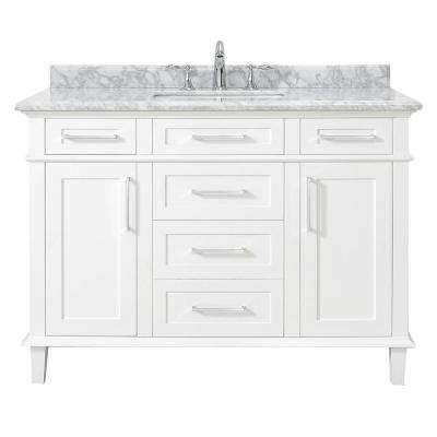 Sonoma 48 in. W x 22 in. D Vanity in White with Carrara Marble Top with White Basins