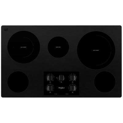 36 in. Radiant Electric Ceramic Glass Cooktop in Black with 5 Elements including Two Dual Radiant Elements