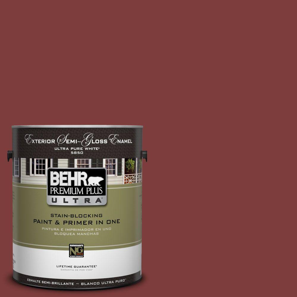 BEHR Premium Plus Ultra 1-Gal. #UL110-2 Raw Cinnabar Semi-Gloss Enamel Exterior Paint