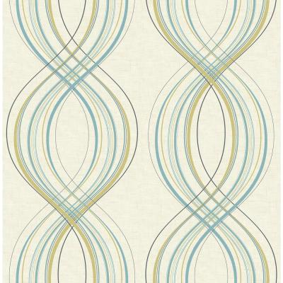 Jeannie Weave Metallic Gold and Sky-Blue Wallpaper