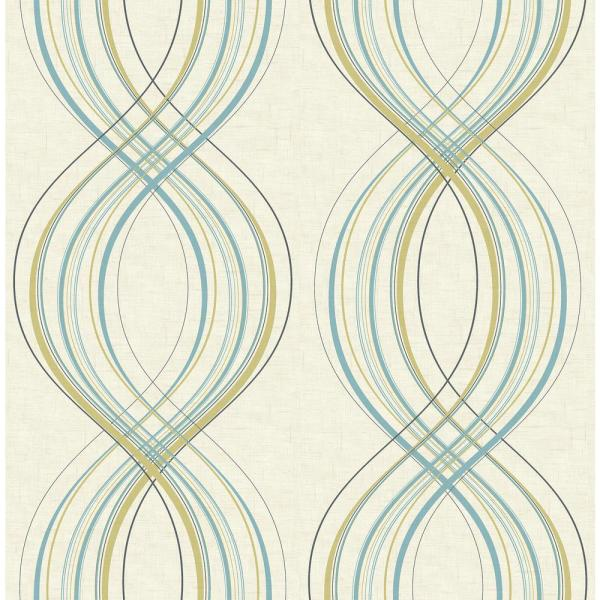 Seabrook Designs Jeannie Weave Metallic Gold and Sky-Blue Wallpaper
