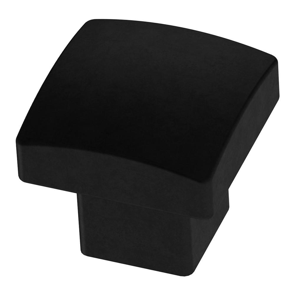 Simply Geometric 1-1/8 in. (28mm) Matte Black Square Cabinet Knob
