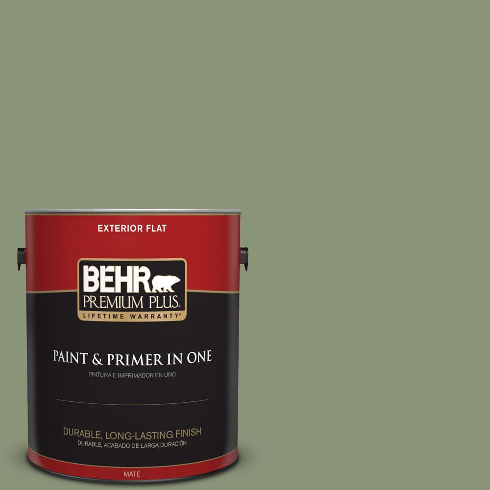 BEHR Premium Plus 1-gal. #420F-5 Olivine Flat Exterior Paint