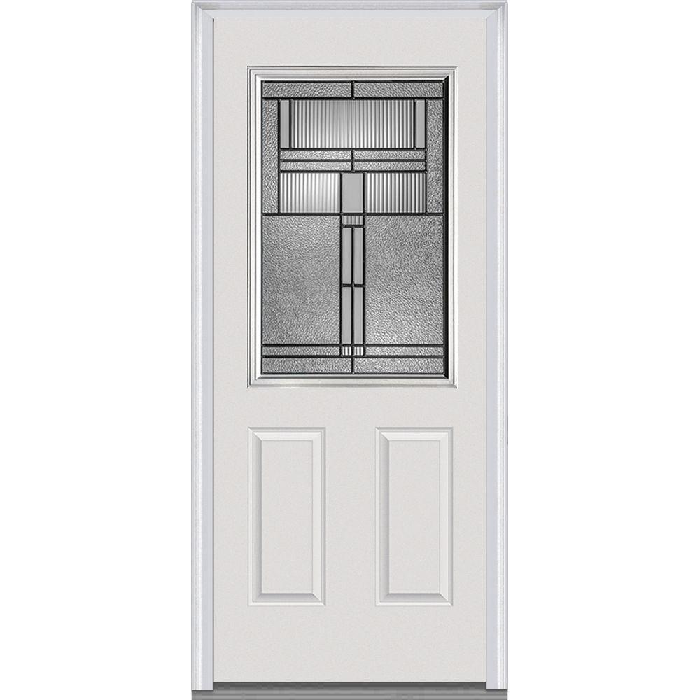 36 in. x 80 in. Brighton Left-Hand Inswing 1/2-Lite Decorative 2-Panel Primed Steel Prehung Front Door