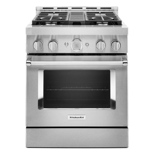 30 in. 4.1 cu. ft. Smart Commercial-Style Gas Range with Self-Cleaning and True Convection in Stainless Steel