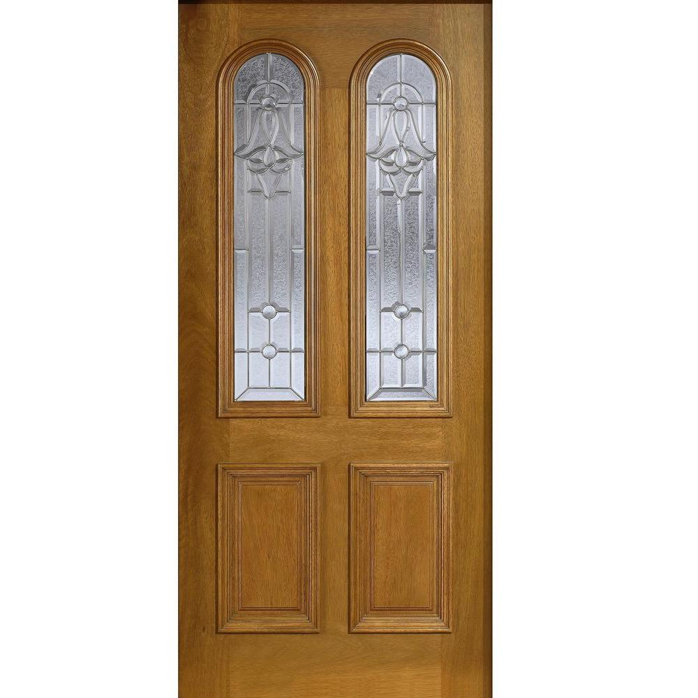 Main Door 36 in. x 80 in. Mahogany Type Twin Arch Glass Prefinished Golden Oak Beveled Zinc Solid Stained Wood Front Door Slab