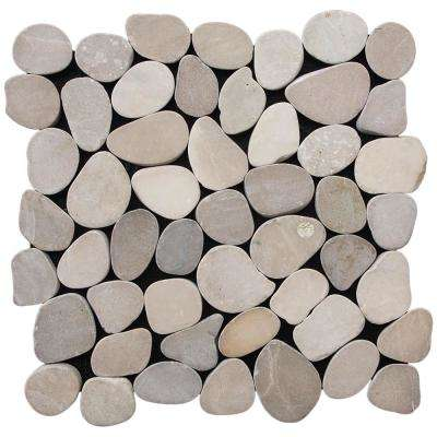 Sliced Pebble Tile Tan 11.5 in. x 11.5 in. x 9.5 mm Indonesian Pebble Mesh-Mounted Mosaic Tile (10.098 sq. ft. / case)