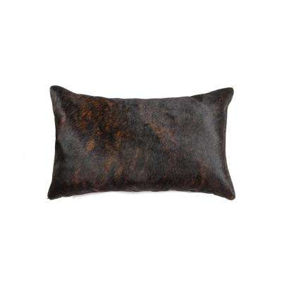 Torino Chocolate 12 in. x 20 in. Cowhide Pillow