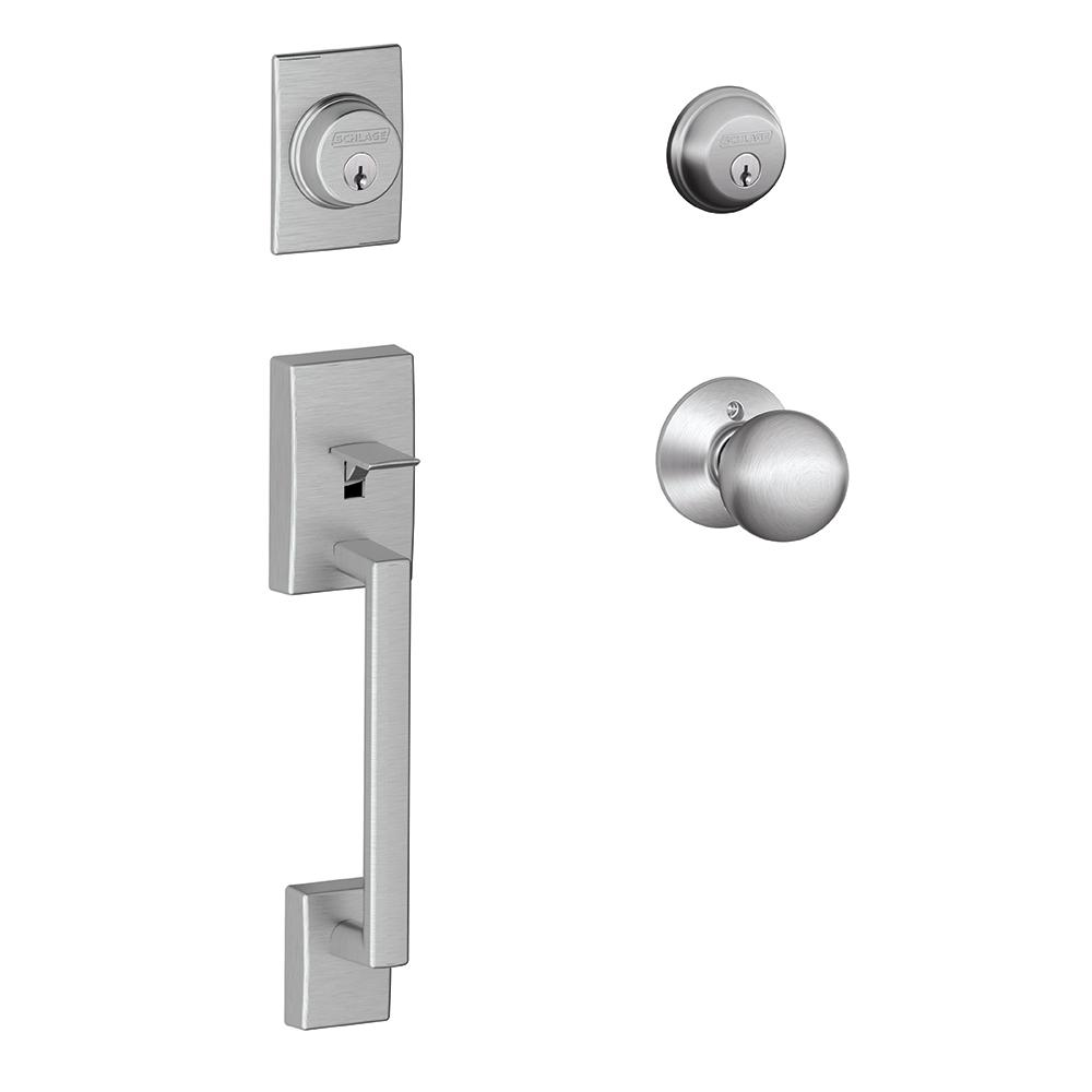 Schlage Century Satin Chrome Double Cylinder Deadbolt With Orbit Knob Door  Handleset